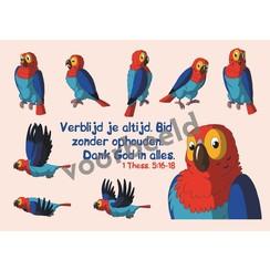Dieren sticker kaartje met de tekst: Verblijd je altijd in de Heere Fil. 4:4 89-01