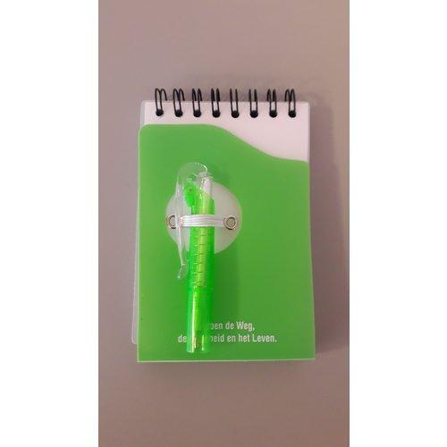 NIET MEER LEVERBAAR Notitieboekje (groen) met pen