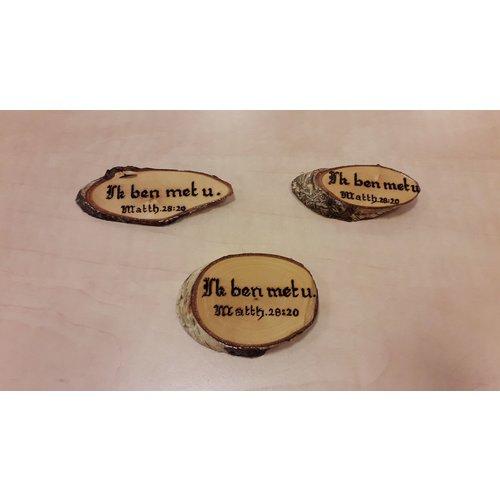 Handgemaakt tekstbord, hout: Matth. 28:20 Ik ben met u