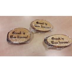 Handgemaakt tekstbord, hout: 'Groot is Uw trouw!'