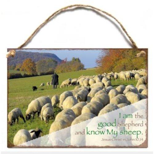 Wooden A5 wall hanging sign/Houten tekstbord met de tekst: I am the good Shepherd..., John 10