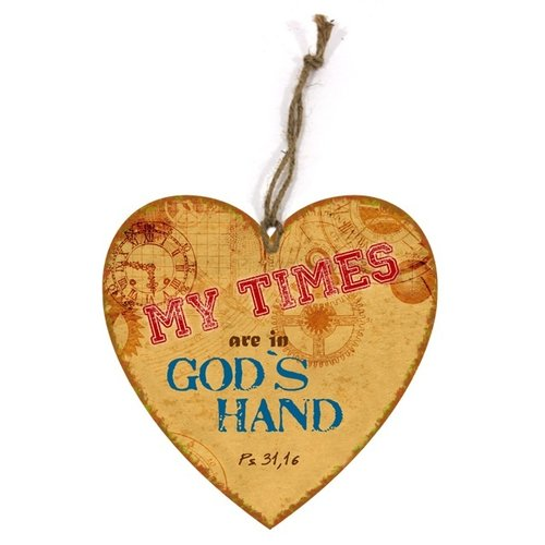 heart-shaped wooden wall sign/hartvormig  houten wandbord met de tekst: My times are in God's hand..