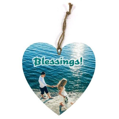 heart-shaped wooden wall sign/hartvormig houte n wandbord met de tekst: Blessings!