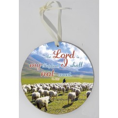 Wooden wall sign, round/houten wandbord, rond met de tekst: The Lord is my Shepherd, I shall not...
