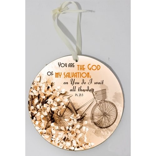 Wooden wall sign, round/houten wandbord, rond met de tekst:You are the God of my salvation; on You..