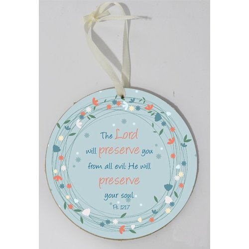 Wooden wall sign, round/houten wandbord, rond met de tekst: The Lord will preserve you from all...
