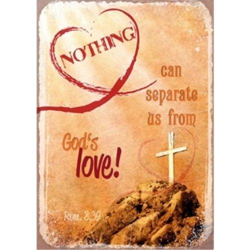 metal fridge magnet/metalen magneet 5x7 cm. met de tekst:  Nothing can separate us from God's love!