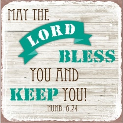 metal fridge magnet/metalen magneet 7x7 cm. met de tekst: May the Lord bless you and keep you!