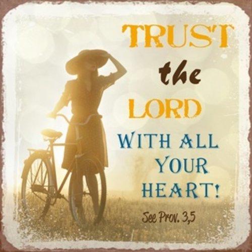 metal fridge magnet/metalen magneet 7x7 cm. met de tekst: trust the Lord with all your heart