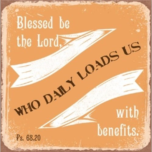 metal fridge magnet/metalen magneet 7x7cm. met de tekst: Blessed be the Lord, who daily loads us wit