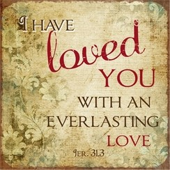 metal fridge magnet/metalen magneet 7x7 cm. met de tekst: I have loved you with an everlasting love