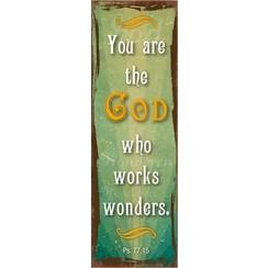 metal fridge magnet/metalen magneet 5x15 cm. met de tekst: You are the God who works wonders. Ps. 77