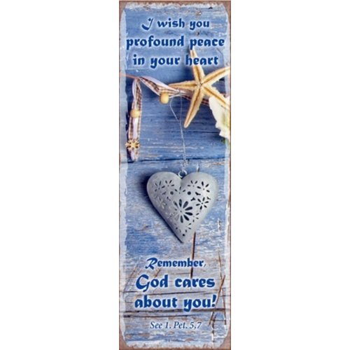 metal fridge magnet/metalen magneet 5x15 cm. met de tekst: I wish you profound peace in your heart.