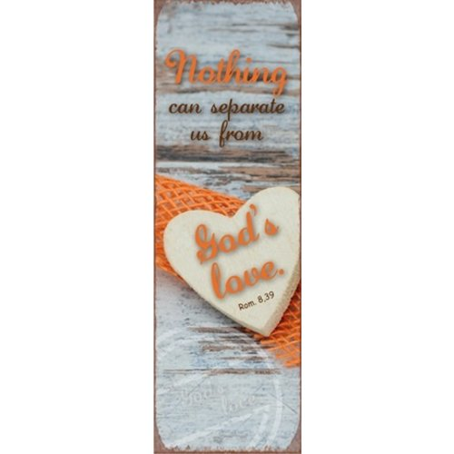 metal fridge magnet/metalen magneet 5x15 cm. met de tekst:  Nothing can separate us from God's love!