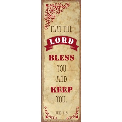 metal fridge magnet/metalen magneet 5x15 cm. met de tekst:  May the Lord bless you and keep you! Num