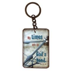 metal key chain/metalen sleutelhanger met de tekst:  My times are in God's hand. Ps. 31,15