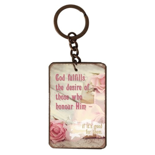 metal key chain/metalen sleutelhanger met de tekst:  God fulfills the desire of those who honour Him