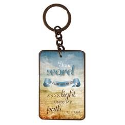 metal key chain/metalen sleutelhanger met de tekst:  Your word is a lamp unto my feet and a light un