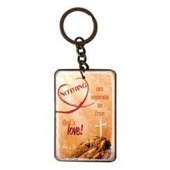 metal key chain/metalen sleutelhanger met de tekst:  Nothing can separate us from God's love! Rom. 8