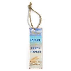 metal book mark/metalen boekenlegger, 30 gr. met de tekst:  You are a pearl in God's hands!
