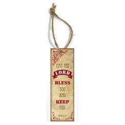 metal book mark/metalen boekenlegger, 30 gr. met de tekst:  May the Lord bless you and keep you!
