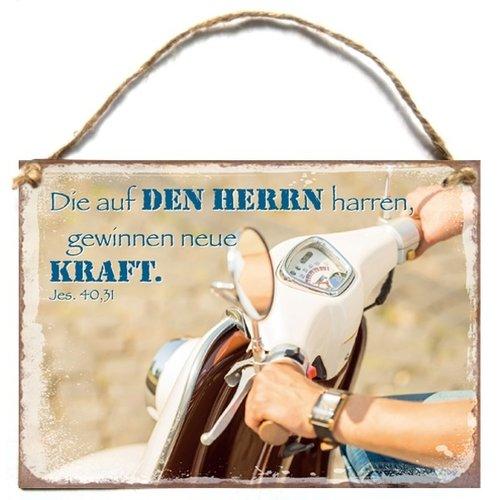 Wandhänger aus Metall/metalen wandbord A6 met de tekst:  Die auf den Herrn harren, gewinnen neue Kra