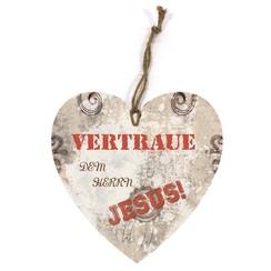 Holtzschild Wandhänger in Herzform/hartvormig wandbord met de tekst:  Vertraue dem Herrn Jesus!