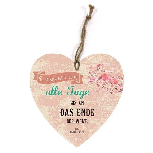 Holtzschild Wandhänger in Herzform/hartvormig wandbord met de tekst:  Ich bin mit dir alle Tage bis