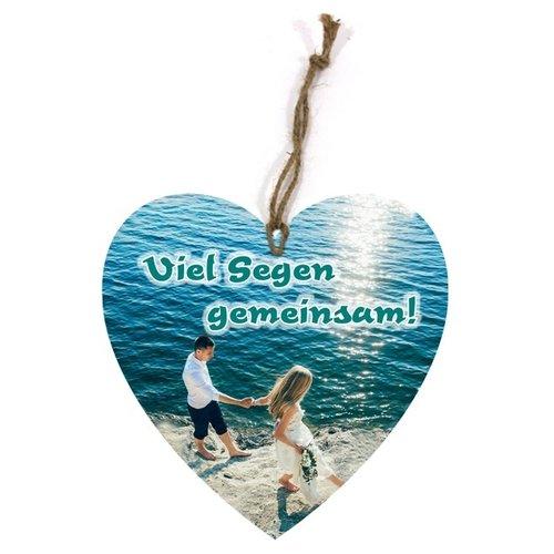 Holtzschild Wandhänger in Herzform/hartvormig wandbord met de tekst:  Viel Segen gemeinsam!