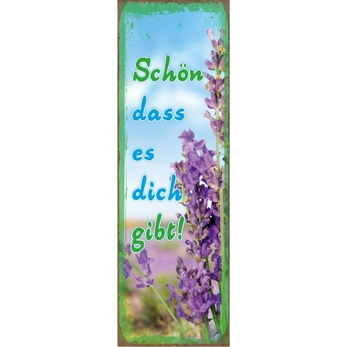Kühlschrankmagnet aus Metall/metalen magneet  5x15 cm., 45 gr. met de tekst: Schön dass es dich gibt