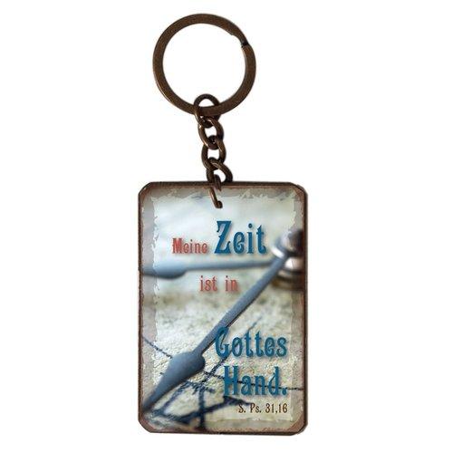 Schlüsselanhänger aus Metall/metalen sleutelhanger, 14 gr. met de tekst:Mein Zeit ist in Gottes Hand
