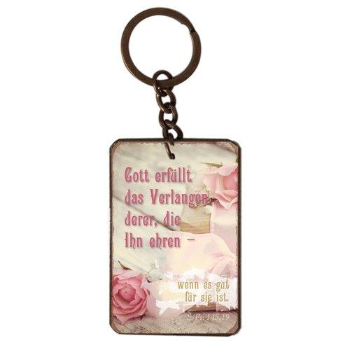 Schlüsselanhänger aus Metall/metalen sleutelhanger,  14 gr. met de tekst: Gott erfüllt das Verlangen