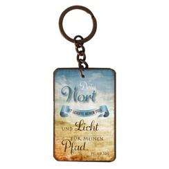 Schlüsselanhänger aus Metall/metalen sleutelhanger,  14 gr. met de tekst: Dein Wort ist Leuchte mein