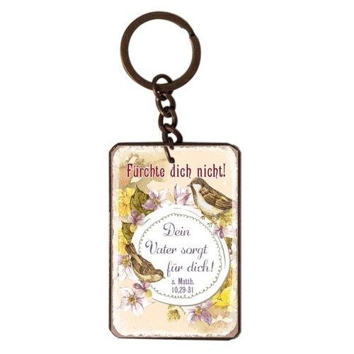 Schlüsselanhänger aus Metall/metalen sleutelhanger,  14 gr. met de tekst: Fürchte dich nicht! Dein