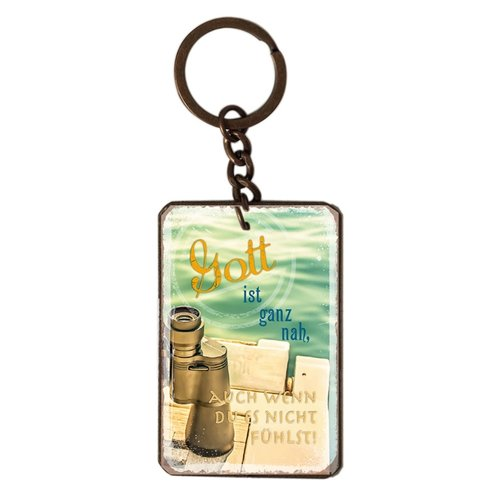 Schlüsselanhänger aus Metall/metalen sleutelhanger,  14 gr. met de tekst: Gott ist ganz nah, auch we
