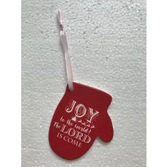 Wandbordje hars-steen, ong. 95 gr. en 12x10x0,5 cm, motief 8. Met de tekst: Joy to the world: the Lo