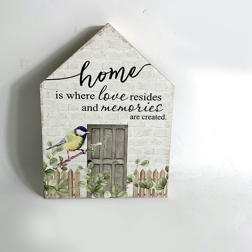 Houten blok 15x20x2,5 cm, ong. 125 gr, motief 8. Met de tekst: home is where love resides and memori