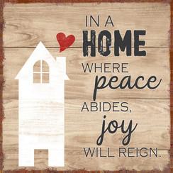 Magneet 7x7 cm, ong. 30 gr; motief EN4. Met de tekst: In a home where peace abides, joy will reign
