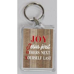 Sleutelhanger 4,2x6,3x0,4 cm, ong. 12 gr. motief EN3. Met de tekst: JOY: Jesus first, Others next, Y