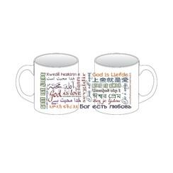 Mok met opdruk: God is liefde in 18 verschillende talen