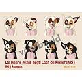 Dieren sticker kaartje met de tekst: DE Heere Jezus zegt: Laat de kinderen bij Mij komen. 89-04