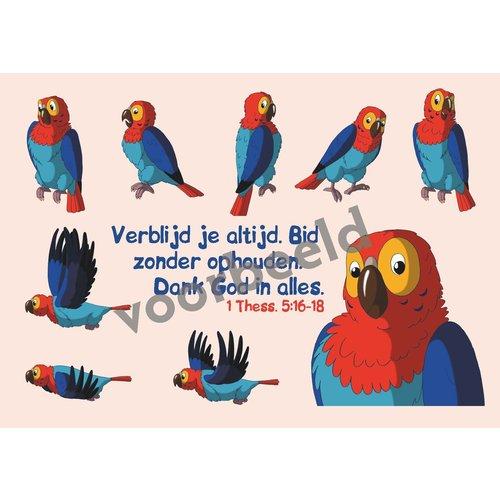 Dieren sticker kaartje met de tekst: Verblijd je altijd in de Heere Fil. 4:4 89-03