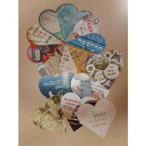 Mix-pakket enkelvoudige hartvormige kaarten serie 90