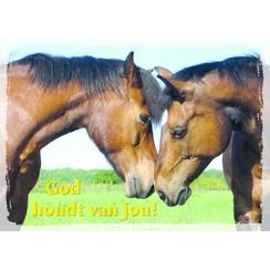 Grote poster 'God houdt van jou' afbeelding paarden