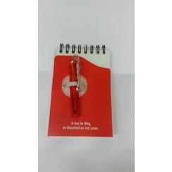 Notitieboekje (rood) met pen