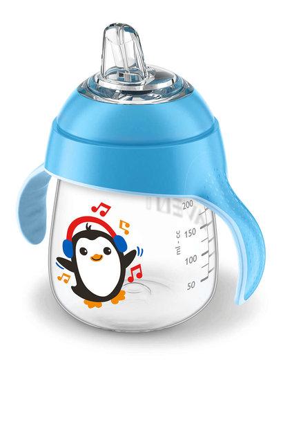 Lekvrije beker pinguïn 260ml blauw