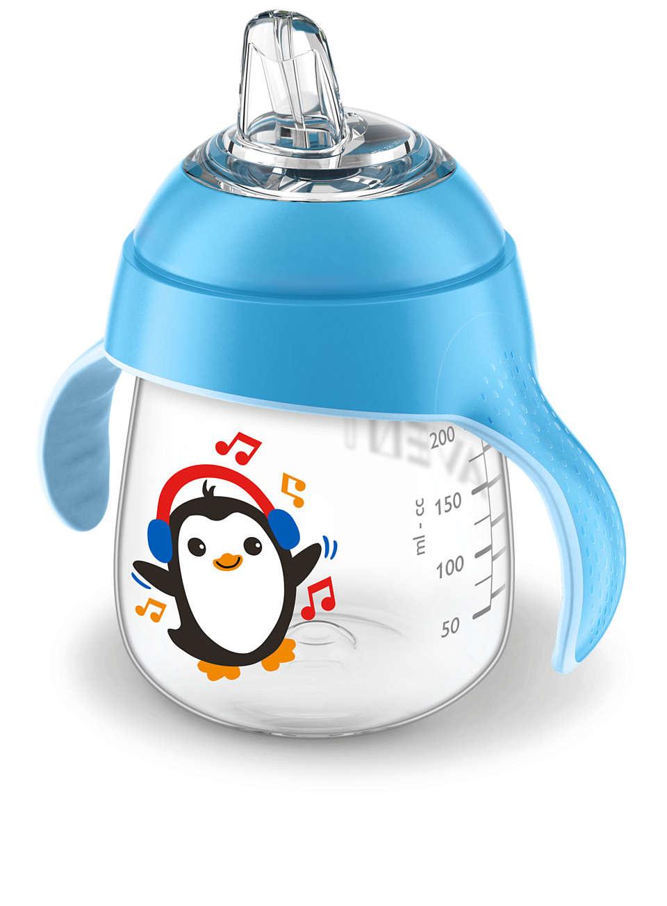 Lekvrije beker pinguïn 260ml blauw-1