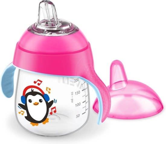 Lekvrije beker pinguïn 260ml roze-1