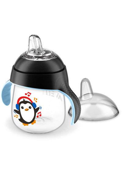 Lekvrije beker pinguïn 260ml zwart