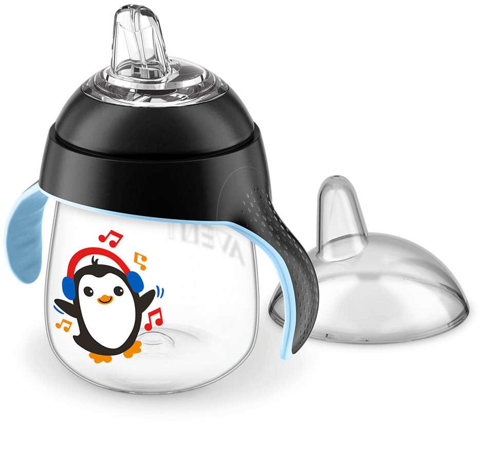 Lekvrije beker pinguïn 260ml zwart-1